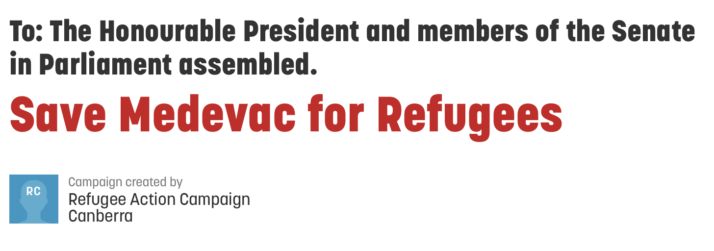 Save Medevac for Refugees Petition Image